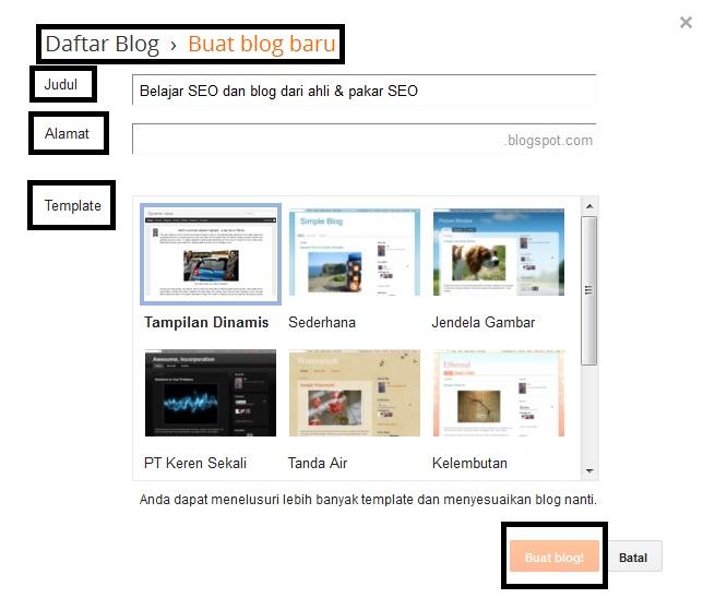 Isi Form Untuk Melengkapi Proses Pembuatan Blog