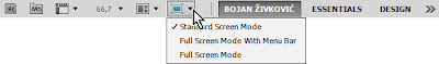 Choose screen mode in Adobe Photoshop
