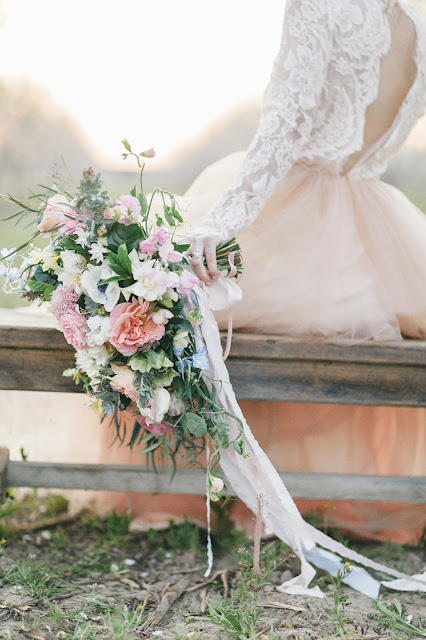Blush pink and white spring bride's bouquet in an almond orchard in Fresno CA, Fleurie Flower Studio, Katie McGihon Photography