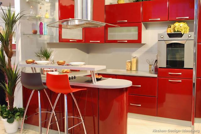 Contoh pemilihan warna cat merah rumah minimalis untuk desain dapur
