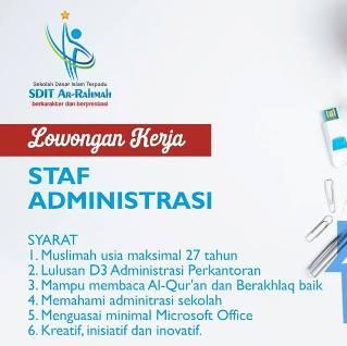 Lowongan Kerja Staf Administrasi di SDIT Ar Rahmah Makassar