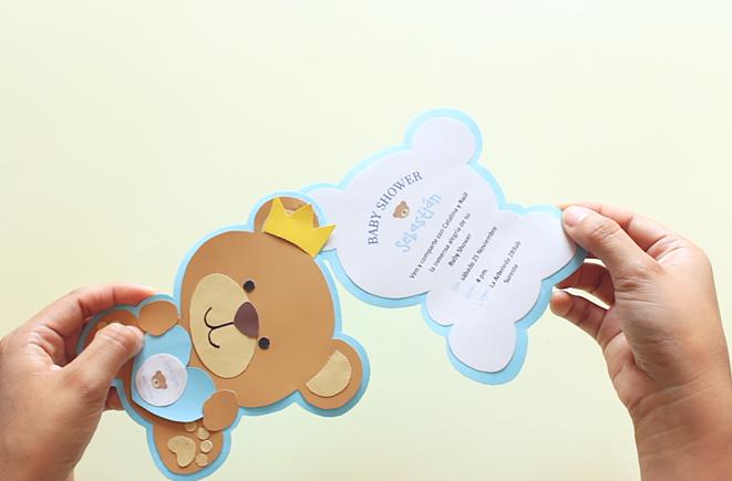 Tarjeta De Osito Bebé Para Baby Shower Party Pop
