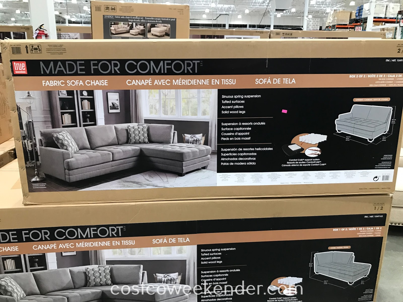 Costco 1049183 - True Innovations Fabric Sofa Chaise Sectional: perfect for any living room or family room