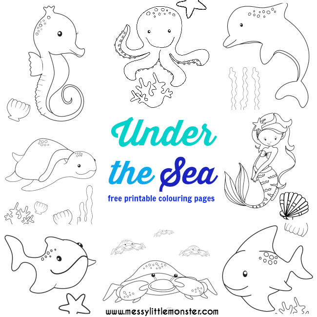 Under the Sea Colouring Pages Free - Messy Little Monster