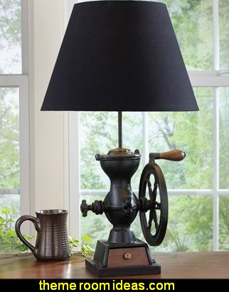 Coffe Grinder Lamp primitive americana decorating style - folk art - heartland decor - rustic Americana home decor - Colonial & Country style decorating Americana bedroom designs - Primitive Country Rustic decor