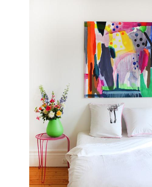 quadro colorido na cabeceira da cama, Decorar a casa de forma simples, decoração com amor.