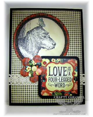 CraftyColonel Donna Nuce for Cards in Envy challenge.  Impression Obessions stamp, Graphic 45 paper,