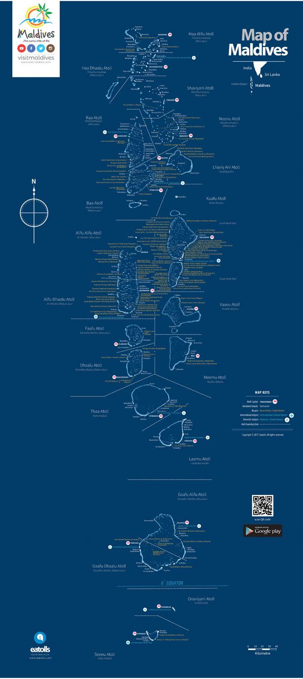 Guia viaje de las islas Maldivas mapa