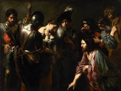 Valentin de Boulogne - Le christ et la femme adultère vers 1618-1622.