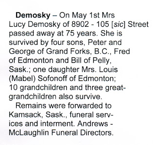 Transcription of obituary of Lucy Demosky