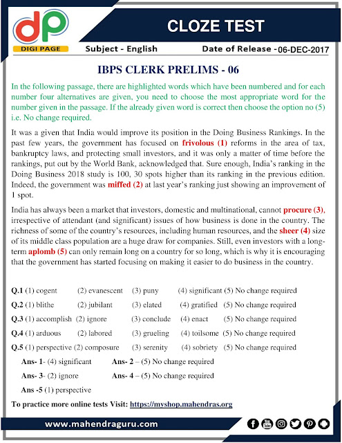 DP | Cloze Test For IBPS Clerk Prelims | 06-12-2017