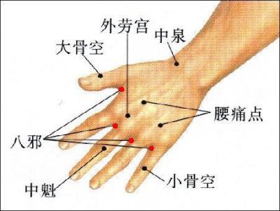 八邪穴位 | 八邪穴痛位置 - 穴道按摩經絡圖解 | Source:zhongyibaike.com