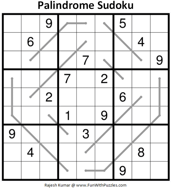 Palindrome Sudoku Puzzle (Fun With Sudoku #364)