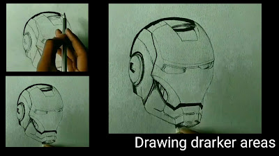 How to draw Inroman, Ironman helmet Drawing, step by step tutorial,learn to draw Ironman, pencil drawing of Ironman, easy Drawing for kids, Drawing for begginers, artist help Drawing, online drawing,