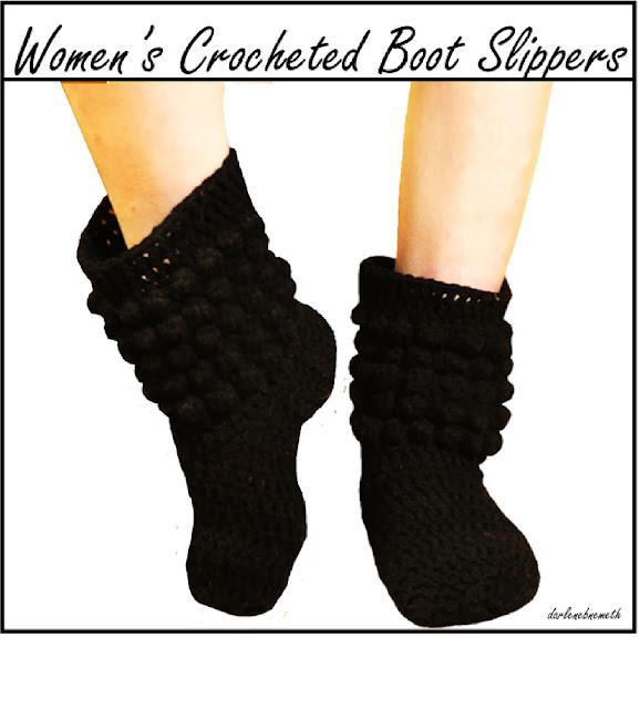 Women's Crocheted Boot Slippers