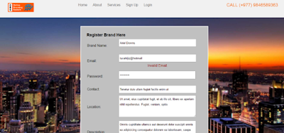 Invalid Email While Registering Brand
