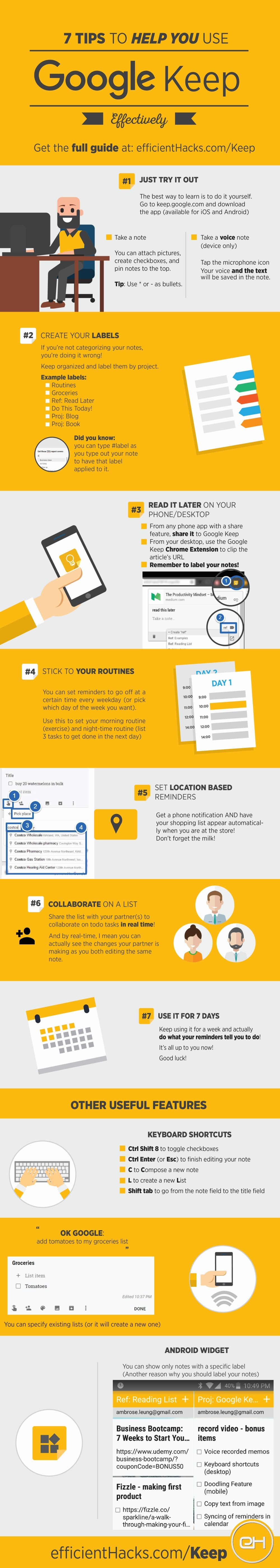 7 Tips To Help You Use Google Keep Effectively - #infographic