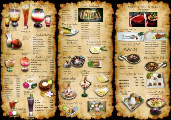 Jogja wisata the house of raminten for Z kitchen jogja menu