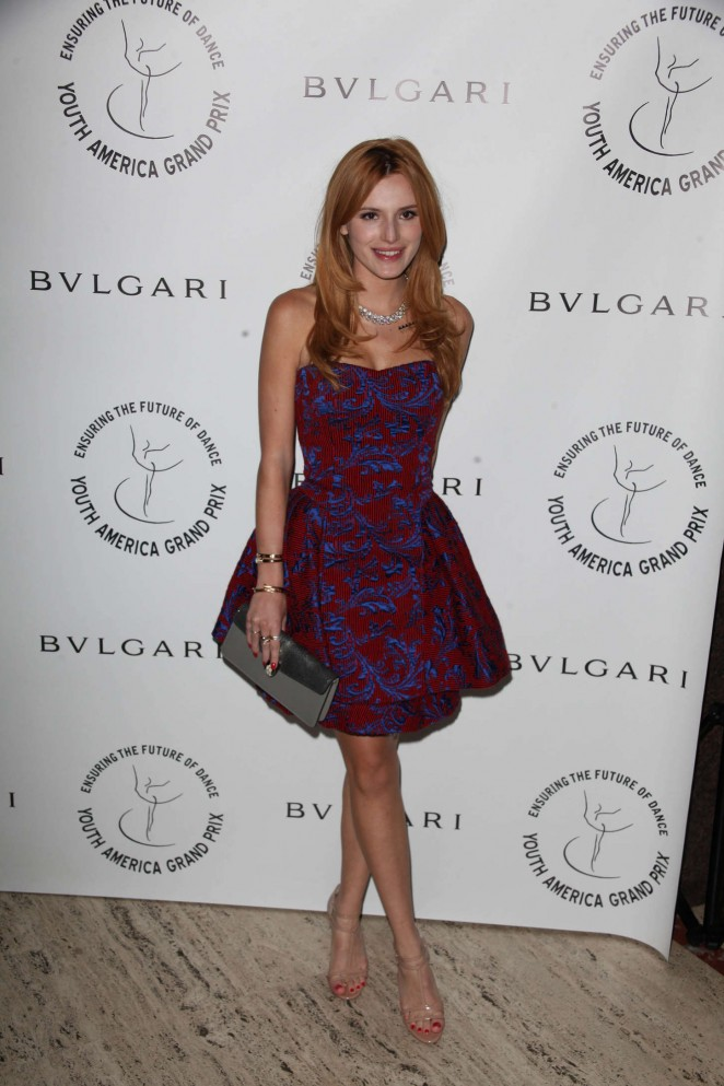 Bella Thorne in a strapless dress at the 2015 American Grand Prix Gala in NY