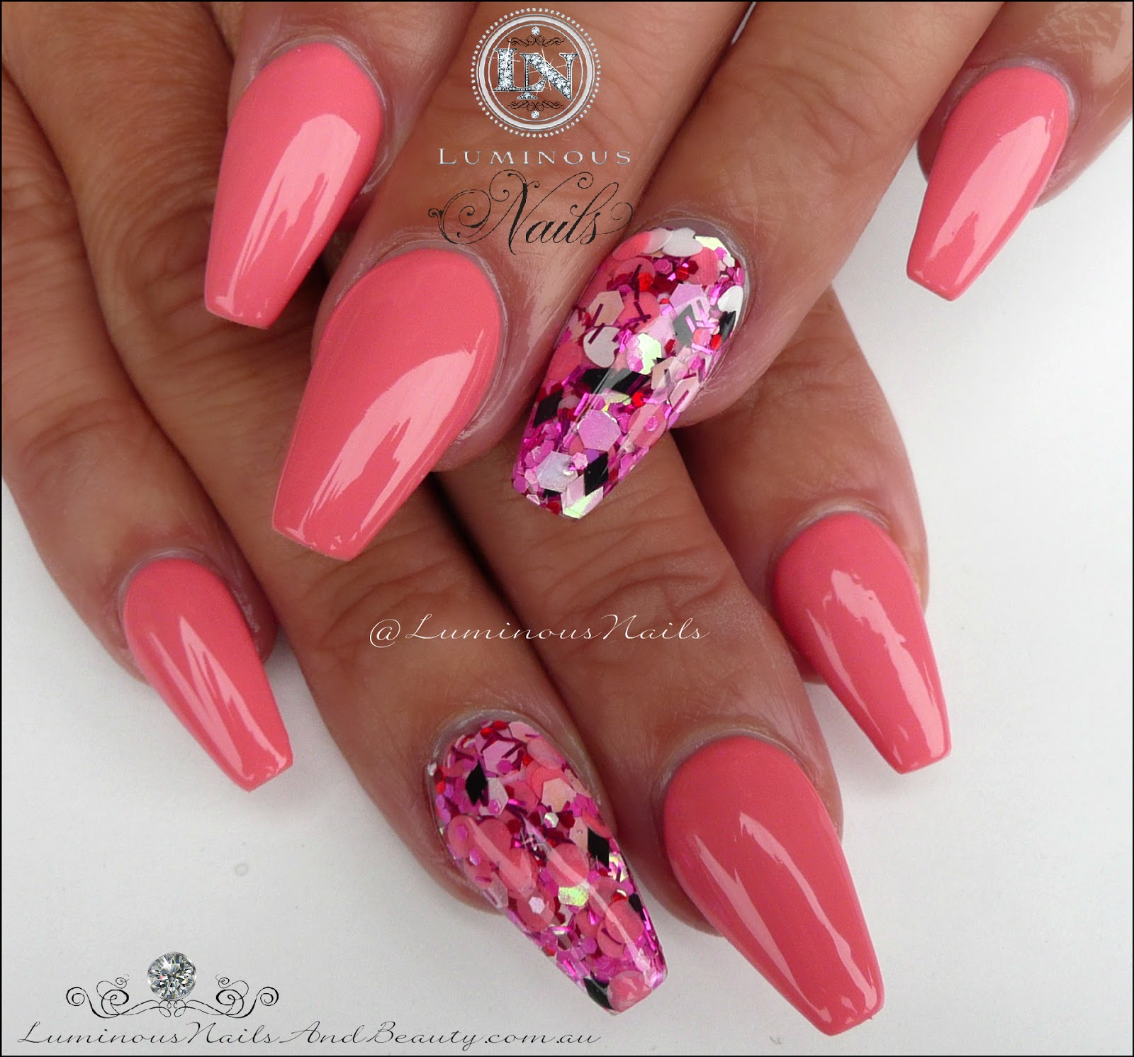C Pink Acrylic Gel Nails