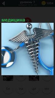 Изображение стетоскопа в медицине, лежащего на столе