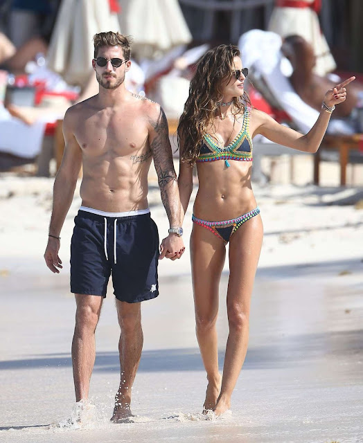Izabel Goulart in Bikini at the beach in St Barts