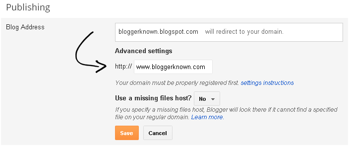 Blogger Setting for Custom Domain www