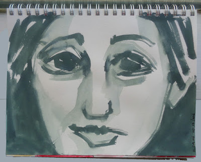 portrait drawing with gouache in sketchbook paper