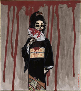 Honne-onna, a skeleton looking woman waving a bloody fan