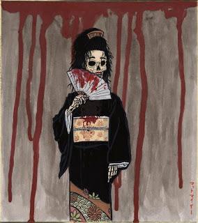 Honne-onna, a skeleton looking woman waving a bloody fan