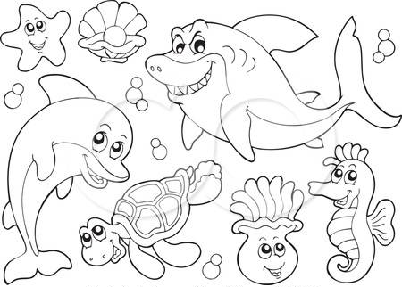 Kumpulan Sketsa Gambar Mewarnai Binatang Laut Untuk Anak Paud Tk