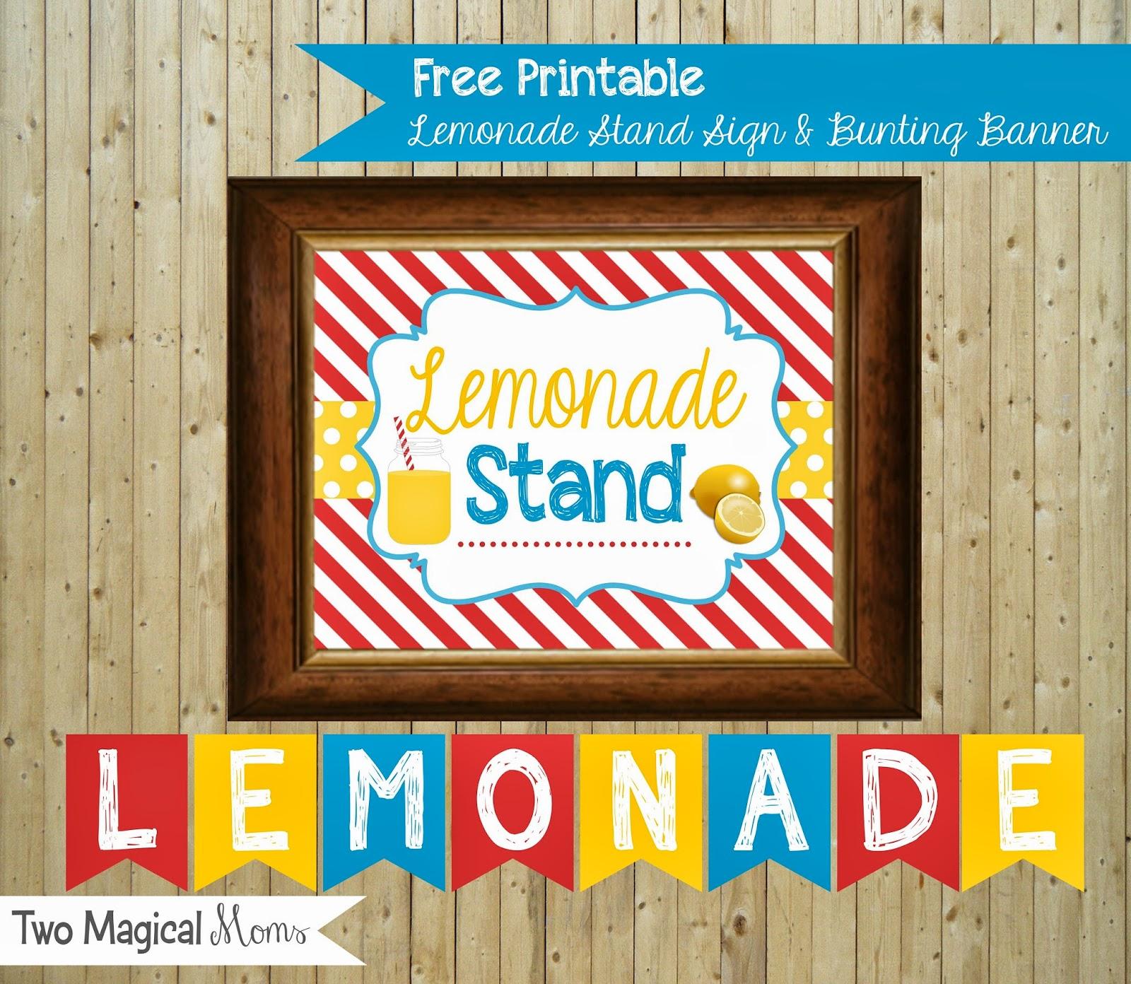 Two Magical Moms: Lemonade Stand Sign & Bunting Banner ... Lemonade Sign Kids