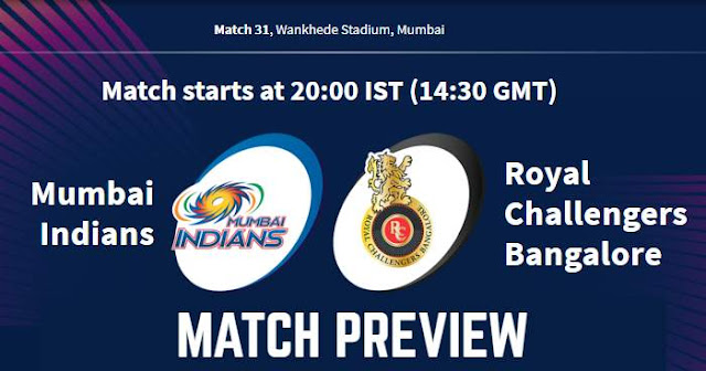 VIVO IPL 2019 Match 31 MI vs RCB Match Preview, Head to Head and Trivia