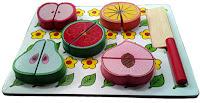 Mainan kayu anak puzzle buah potong