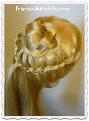 Unique braided rosette hairstyle tutorial.