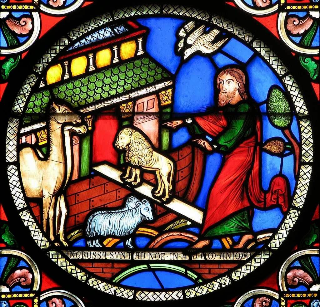 Noé recolhe os animais na Arca. Catedral de Ely, Inglaterra