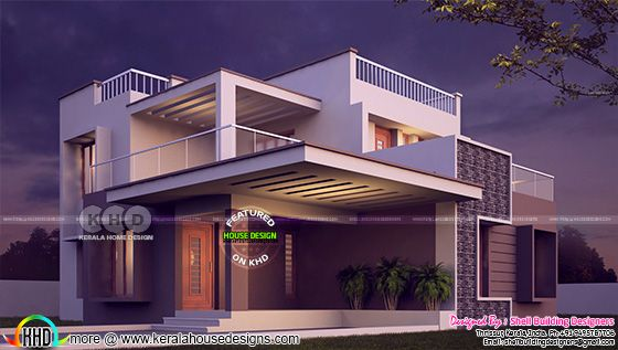 3 BHK flat roof contemporary house
