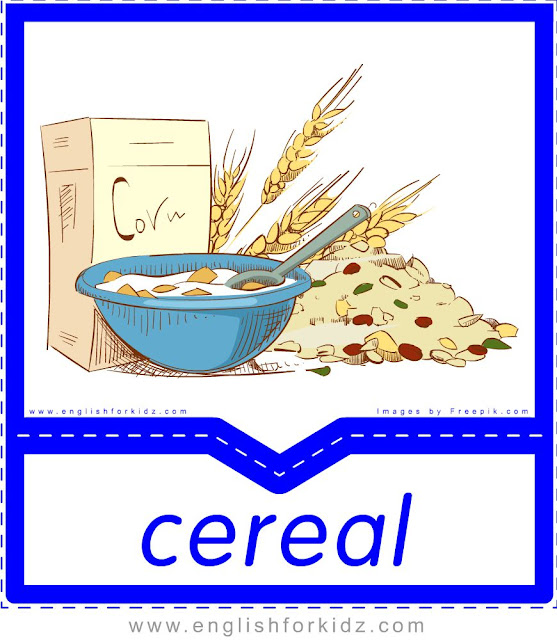 Cereal - English food flashcards for ESL students
