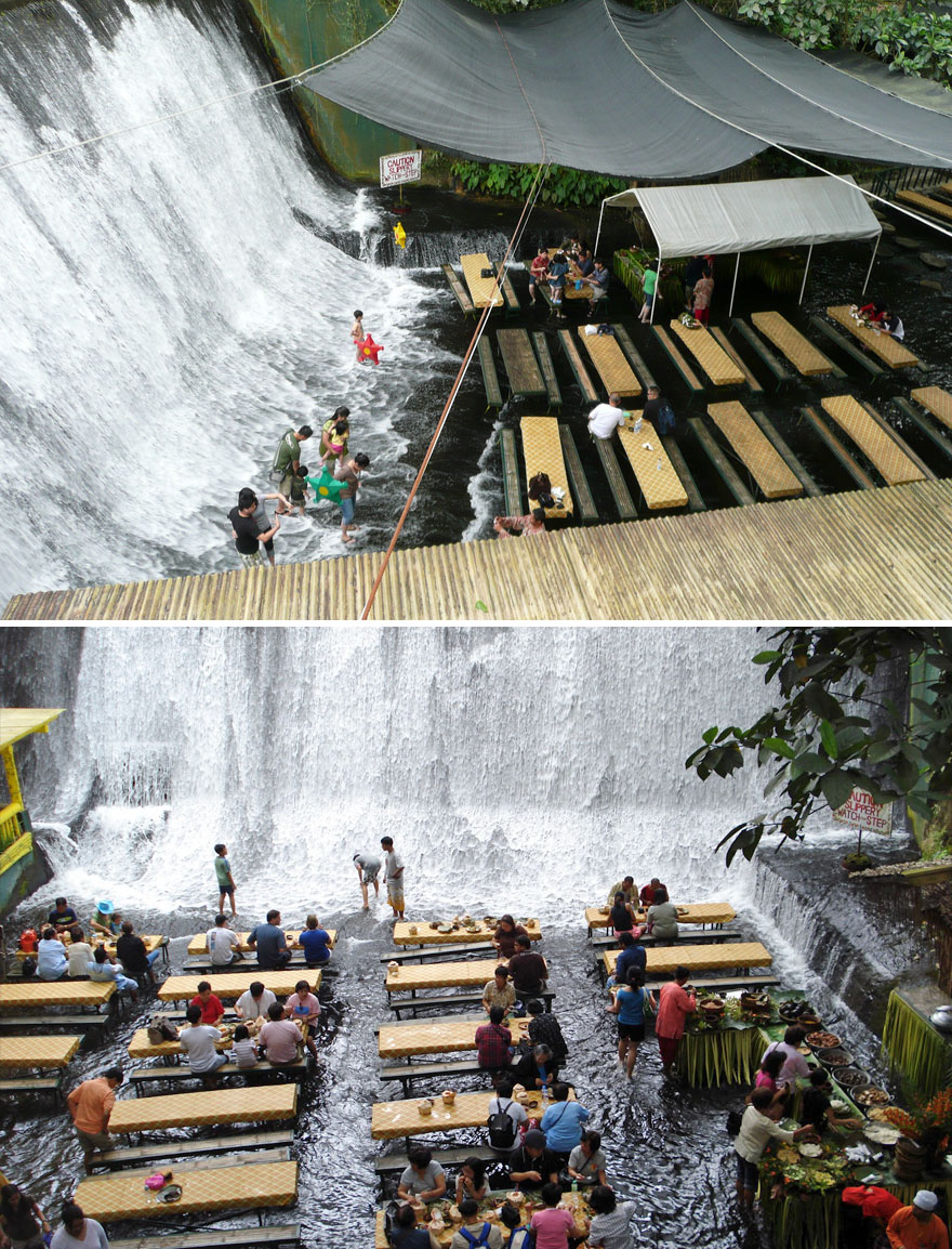 35 Of The World's Most Amazing Restaurants To Eat In Before You Die - Dinner In The Middle Of A Waterfall, Labassin Waterfall Restaurant, Villa Escudero Resort, Philippines