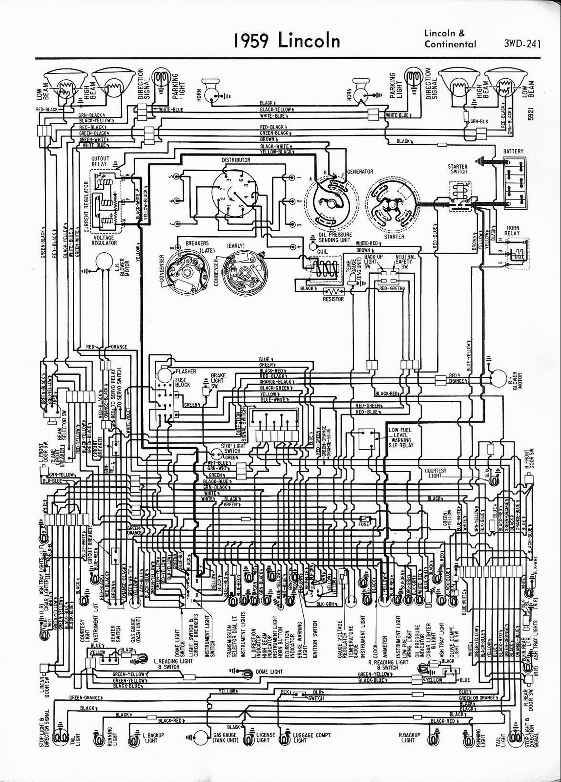 Free Auto Wiring Diagram: 1959 Lincoln Continental Wiring