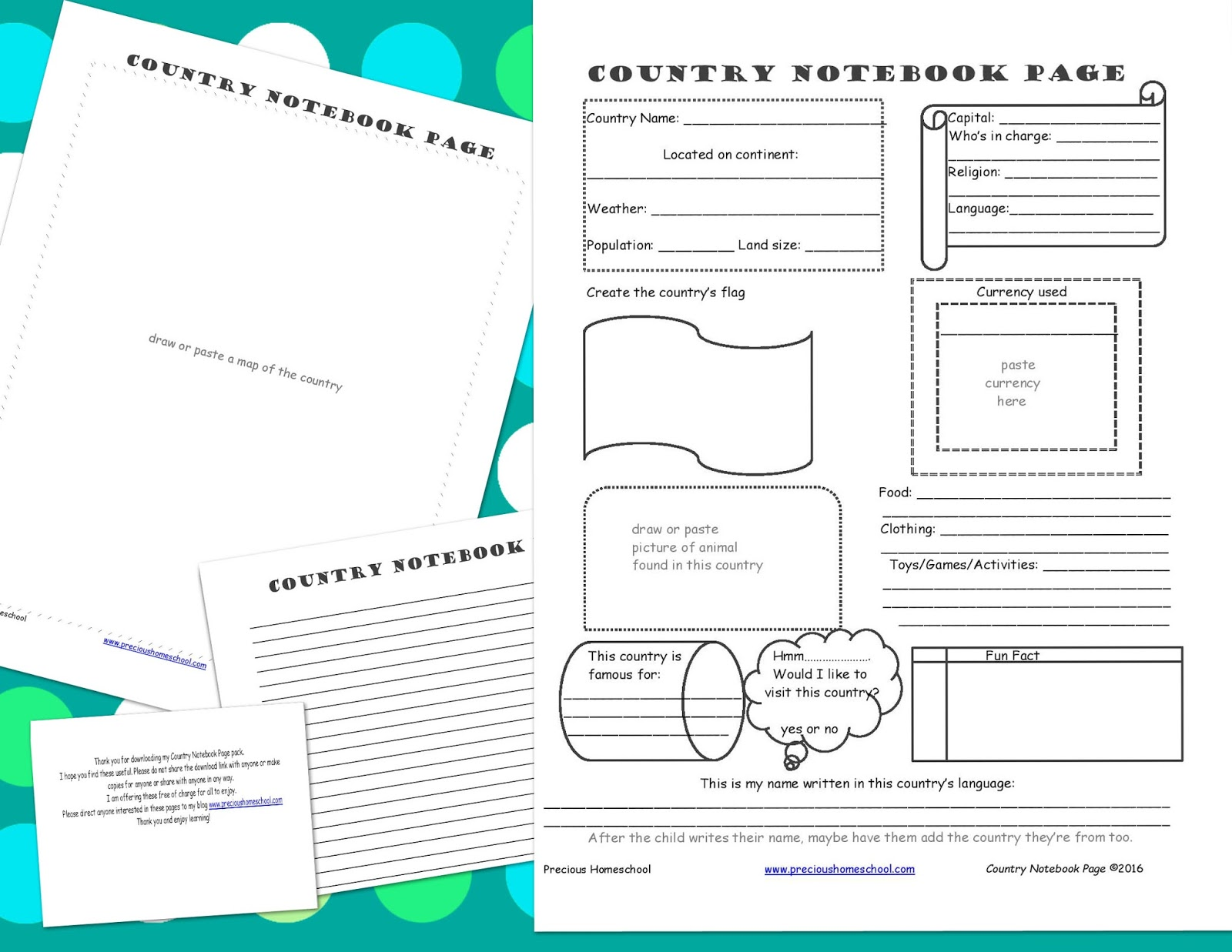 Precious Homeschool Free Country Notebooking Pages Pack