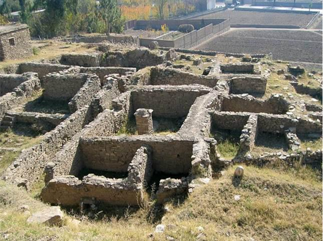 Remains of the ancient city of Bazira near Bari Kot, Lower Swat (visited by Alexander of Macedonia in 326 BC.Swat Pakistan