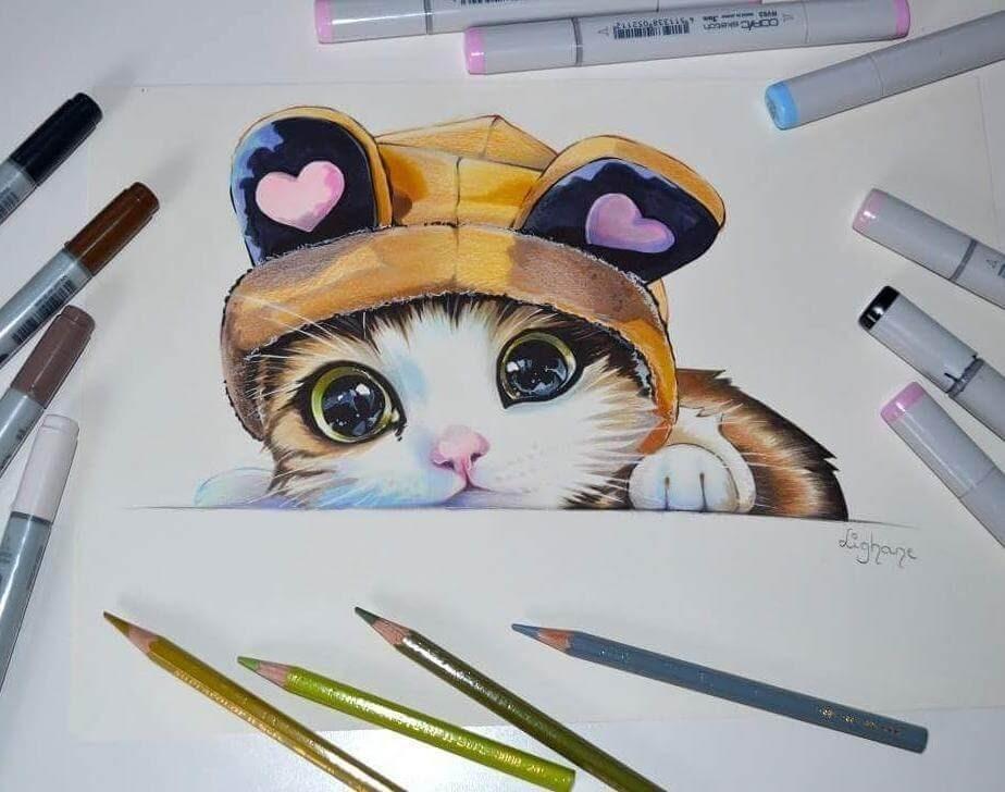 02-Tiny-Kitten-Lisa-Saukel-lighane-Cute-Colored-Fantasy-Animal-Drawings-www-designstack-co