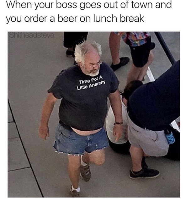 ordering a beer while the boss is away