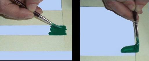 Bantla kapatılmış alanda 1. resimde fırça banda paralel doğru bir şekilde