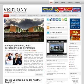 Vertony blog template. template image slider blog. magazine blogger template style. wordpress theme to blogger