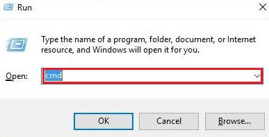 Press Windows +R key cmd