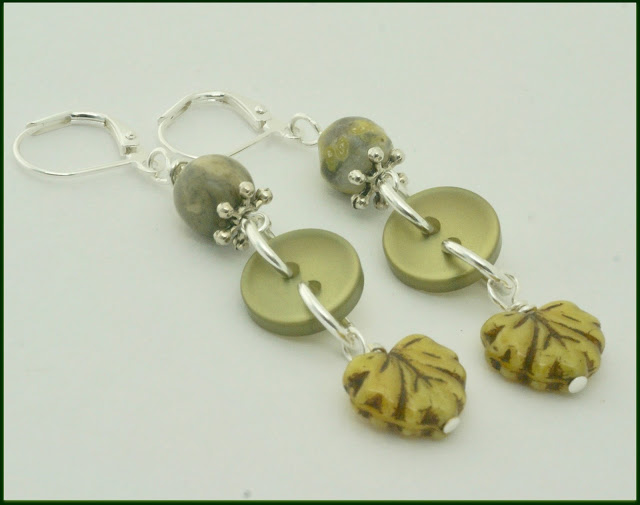 Olive green button earrings