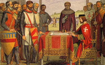 Colour drawing of medieval scene. Knights standing around table while king signs document.