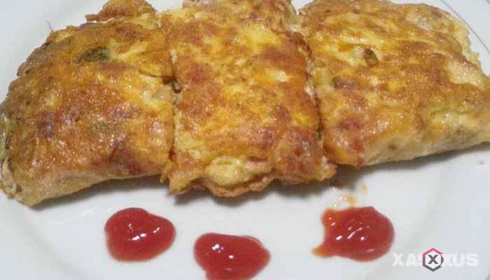 Resep cara membuat omelet kornet dan bawang bombay